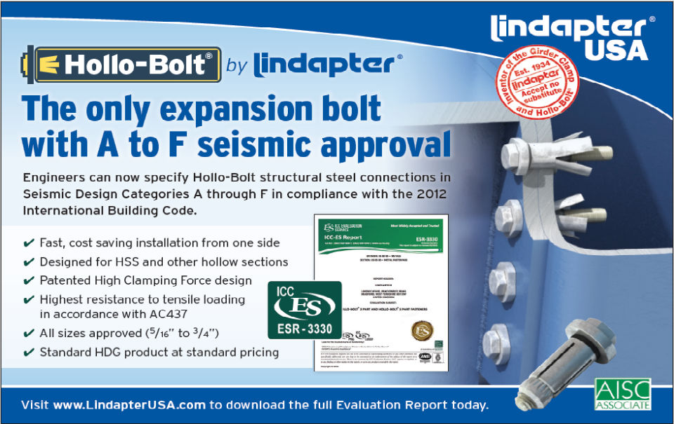 Lindapter Hollo-Bolt A-F Seismic Approval